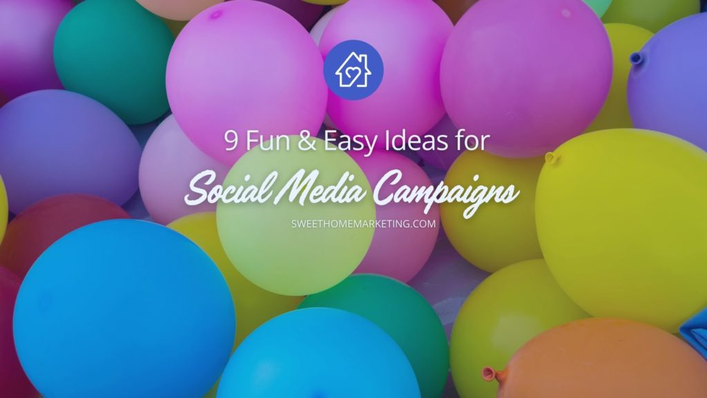 colorful balloons with fun and easy ideas for social media campaign text