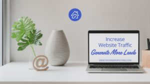 image of computer on desk with text increase website traffic and generate more leads