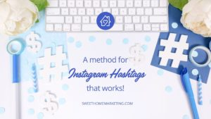 Keyboard with hashtag symbol and the text a method to instagram hashtags that works