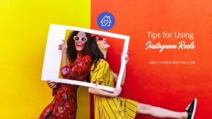 Two women smiling with text tips for using instagram reels